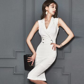 Elegant Bodycon Office White dress