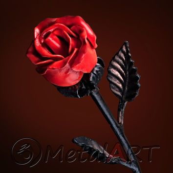 Luminous Red Metal Rose - Forged Individual Flower Handmade Iron Steel Sculpture