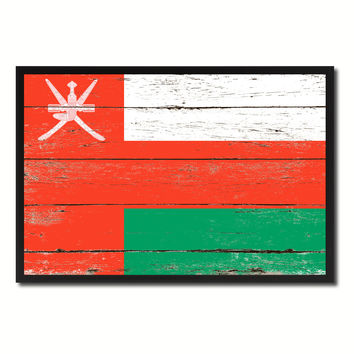 Oman Country National Flag Vintage Canvas Print with Picture Frame Home Decor Wall Art Collection Gift Ideas