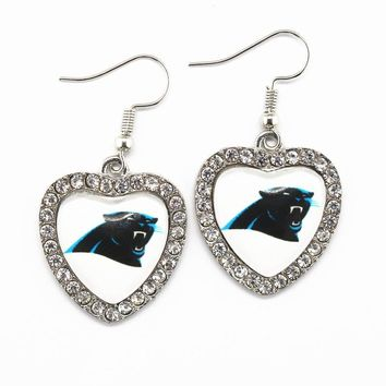 DropShipping 5pair Crystal Heart Earring US Football Team Carolina Panthers Earrings Charms Football Fans Pendientes Jewelry