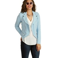 Lt. Blue Asymmetrical Moto Jacket