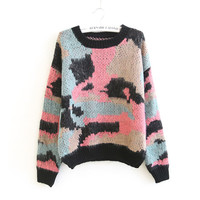 Winter Korean Camouflage Patchwork Sea Sweater Stylish Jacket [9176489284]
