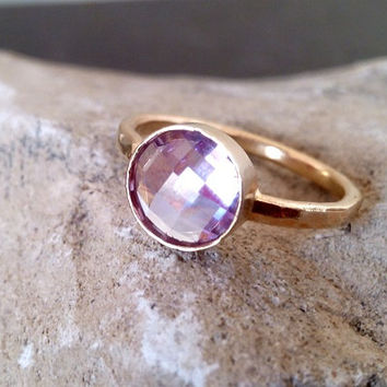 SALE! Lavender Amethyst Ring ,Beze Ring,Cushion Cut,Wedding Jewelry,Gemstone Ring, Gold Ring,Faceted Ring,Stackable Ring,Gold Stack Ring