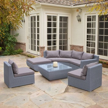 2017 Living Room Furniture 6 pcs Outdoor Wicker Sectional corner Sofa Set