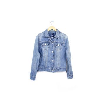 womens gap denim jacket / washed out faded soft denim / womens size medium