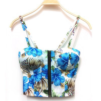 Women's Sweet Floral Bustier Padded Zipper Crop Tank Top