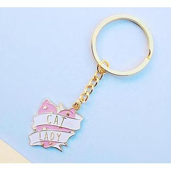 Cat Lady Keychain in Pink and White