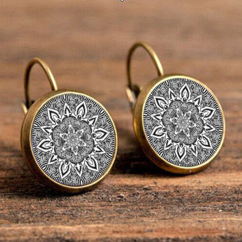 charm silver mandala earrings glass on earring bronze,black om symbol buddhism zen henna yoga earring jewelry