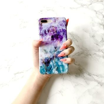 MERMAID GLOW Marble Phone Case, Luxurious Premium Material Gel Bumper Anti-Scratch Phone Case Lightweight Full Protection Cover for iPhone