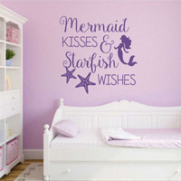 Mermaid Kisses Starfish Wishes Decal | Vinyl Lettering | Wall Quotes