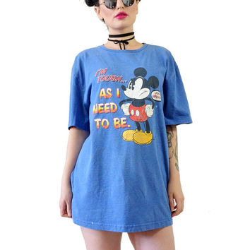 vintage 90s DISNEY tshirt mickey mouse oversized shirt royal blue grunge cartoon artist series soft grunge festival disneyland world