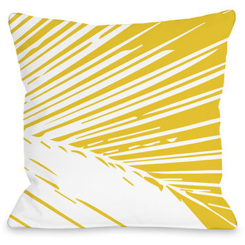 """Alaiya Palm Leaves"" Outdoor Throw Pillow by OneBellaCasa, Yellow, 16""x16"""