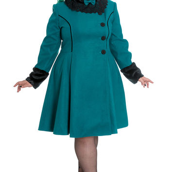 Vintage Victorian Design Teal Green Angeline Winter Coat