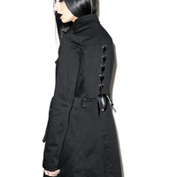Tripp NYC Lace Back Trench Coat Black