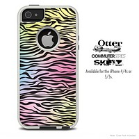 The Black & Neon Zebra Striped Skin For The iPhone 4-4s or 5-5s Otterbox Commuter Case