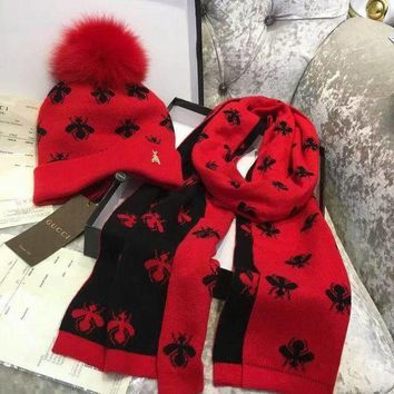 GUCCI Bee Hat Cap Scarf Two Piece set