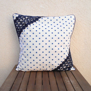 Blue Polka Dot Pillowr, Throw Pillow Cover, Decorative Pillow, Pillow Cover 18 x 18  Lace Pillow, White and Blue Pillow, Home Decor Pillow