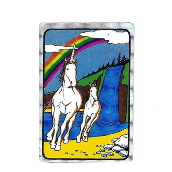 80's Prism Unicorn Sticker, Vending Machine Sticker, Rainbow, Waterfall, Scrapbook, Crafts, Collectible