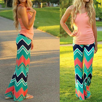 Women's Boho Mint White Black Coral Chevron Striped High Waist Fold Over Palazzo Pants Yoga Pants