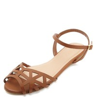 CUT-OUT ANKLE STRAP FLAT SANDALS