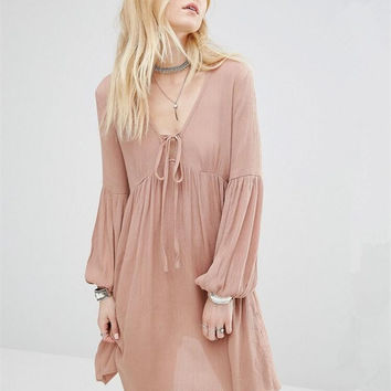 Pink V-Neck Long Sleeve Ruffled Dress