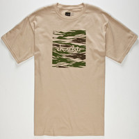 Chocolate Camo Chunk Mens T-Shirt Sand  In Sizes