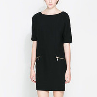 Black Short Sleeve Double Zip Tunic Mini Dress