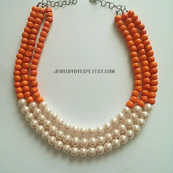 Orange Necklace and Earrings - Multi Strand Necklace- Bib Necklace- Statement Necklace- Beaded Necklace- Bridesmaid Necklaces- Gifts Ideas