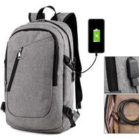 Waterproof Backpack, Travel Bag with USB Charger (4 colors)