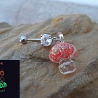 Glow In the Dark Red Glass Mushroom Belly Ring Body Jewelry 14ga