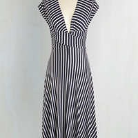 Nautical Long Cap Sleeves A-line Sun-soaked Afternoon Dress