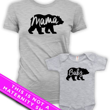 Matching Mommy And Me Clothing Pregnancy Clothes Mama Bear And Baby Bear Baby Bodysuit Maternity Outfits Mom To Be Sport Grey MAT-666-667