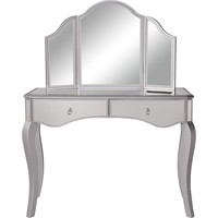 "Contempo 42""x18""x31"" Mirrored Vanity Table & Mirror, Silver"