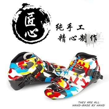 Cool Camouflage Inline Speed Skates Upper Boot for Advanced Profesional Skaters 150mm 165mm 180mm 195mm Mounting Carbon Fiber