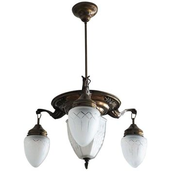 Art Deco Brass Four-Light Chandelier Pendant with Hand-Cut Glass Globes
