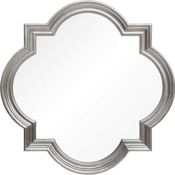 Quick Overview:Distressed Silver Leaf Quatrefoil Mirror