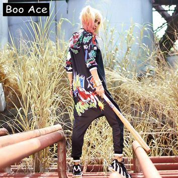 2017 Boo Ace Novelty Anime Cute Printed Loose Jumpsuit Women Hippie Rompers Womens Hip-hop Jumpsuit Free Size 306202