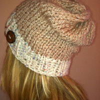 Slouchy Hand Knit Pale Pink and Cream Beanie With Natural Wood Button