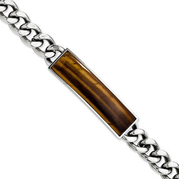 Stainless Steel Tigers Eye & Polished Bracelet