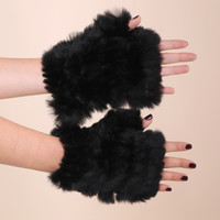 Jocelyn Rabbit Fingerless Mittens - Black