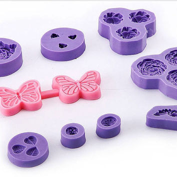9 x Silicone Icing  Mold Flower Rose Cupcake toppers Cake Decorating
