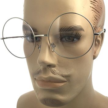 Silver-X Large(2.50inch) Large Oversized Big Round Metal Frame Clear Lens Round Circle Eye Glasses Medium