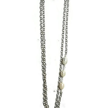 Freshwater White Baroque Pearl Necklace with Stainless Steel Chain