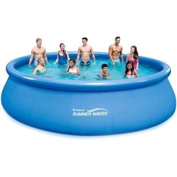 "Summer Waves 18' x 48"" Quick Set Round Above Ground Swimming Pool with Deluxe Accessory Set - Walmart.com"