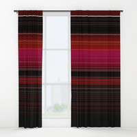 Rich Red Wine Striped Pattern Window Curtains by Sheila Wenzel