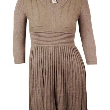 Studio M Women's Ribbed Flared Sweater Dress