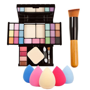 Professional Makeup Palette Combination Gift Kits Set + Sponge Puff Powder Brush Send By Random