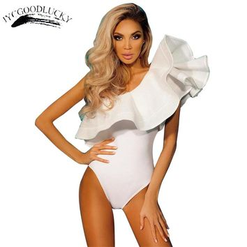 Ruffles Mesh Body Overalls For Women One Off Shoulder Body Feminino Leotard Party Catsuit Female Body White Sexy Bodysuit Women