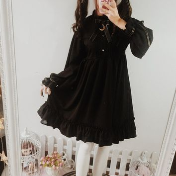 Dresses for Women Lolita Gothic Black Retro Dress Long Sleeve and Short Sleeve Dress Trimmed with Agaric Laces