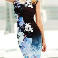 V Neck Sleeveless Floral Bodycon Dress - NOVASHE.com